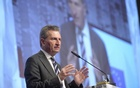 File Photo: Guenther Oettinger delivers a speech at the world's biggest computer and software fair CeBit in Hanover, Germany, Mar 14, 2016. Reuters