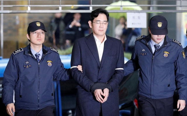 File Photo: for Samsung Electronics Vice Chairman Jay Y Lee arrives at the office of the independent counsel team in Seoul, South Korea, Feb 22, 2017.