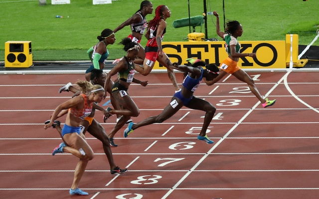 Athletics – World Athletics Championships – women's 100 metres final – London Stadium, London, Britain – Aug 6, 2017 – Tori Bowie of the US in action. Reuters