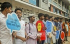 Transparency International, Bangladesh or TIB's human chain demonstration on Wednesday at the Dhaka University campus over International Youth Day.