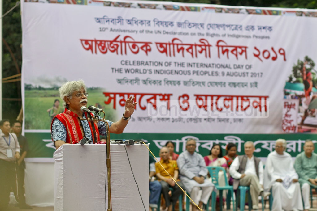 Zafar Iqbal, author and educationist, speaks at a programme to mark the International Day of the World's Indigenous Peoples at Dhaka's Central Shaheed Minar on Wednesday. Photo: tanvir ahammed