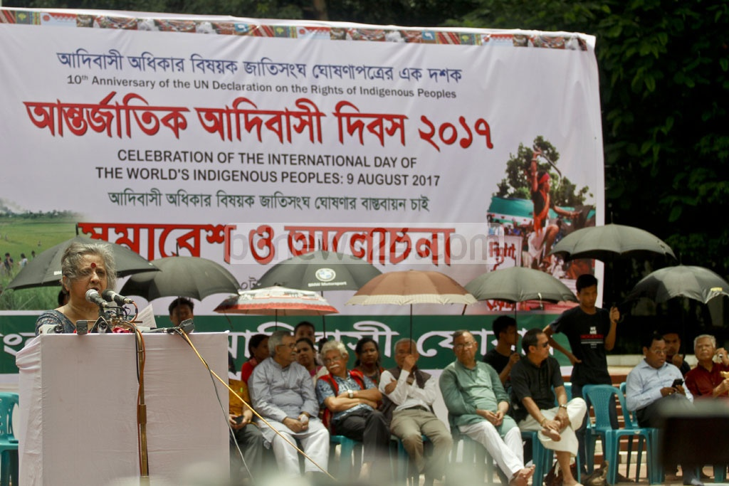 Khushi Kabir, a leading rights activist, speaks at a programme to mark the International Day of the World's Indigenous Peoples at Dhaka's Central Shaheed Minar on Wednesday. Photo: tanvir ahammed