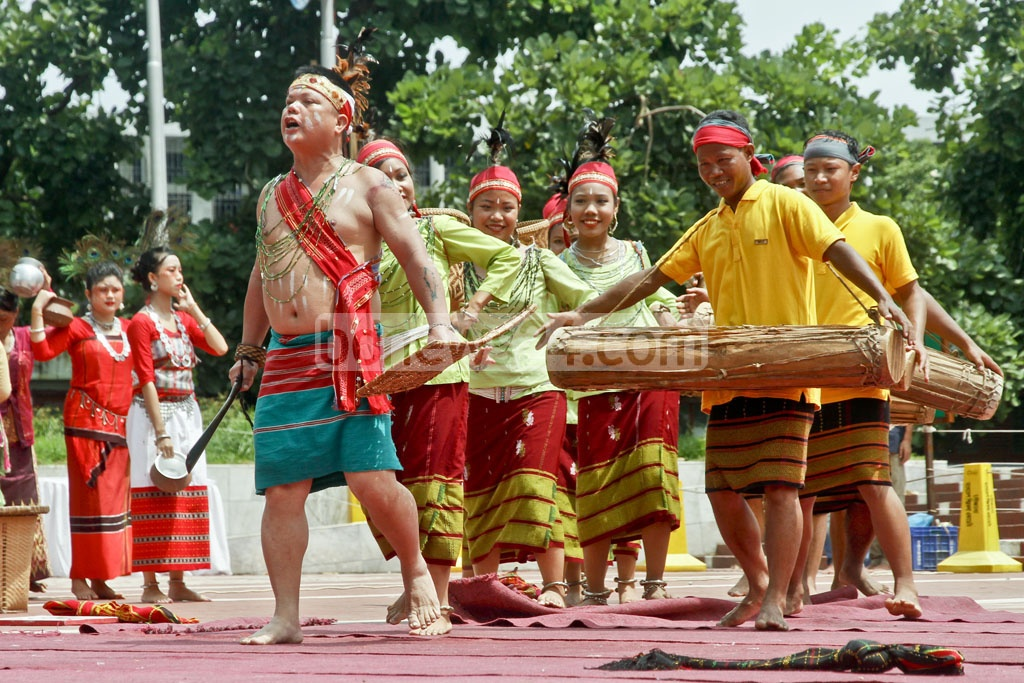 Dancers perform at a programme to mark the International Day of the World's Indigenous Peoples at Dhaka's Central Shaheed Minar on Wednesday. Photo: tanvir ahammed