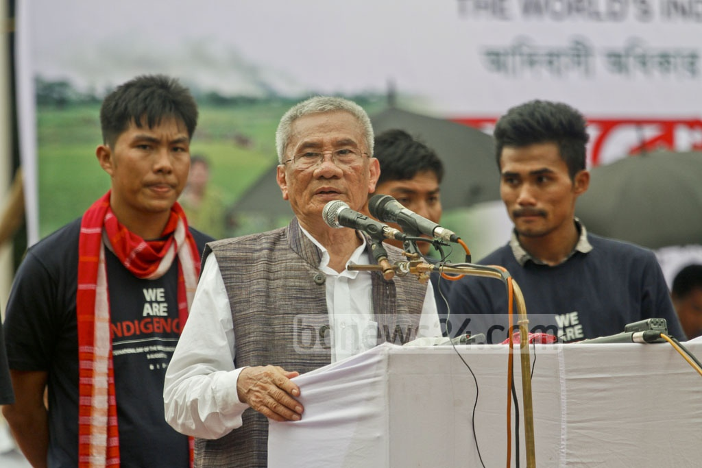 Jotirindro Bodhiprio Larma, who heads the United People's Party of the Chittagong Hill Tracts and Bangladesh Indigenous Peoples' Forum, speaks at a programme to mark the International Day of the World's Indigenous Peoples at Dhaka's Central Shaheed Minar on Wednesday. Photo: tanvir ahammed