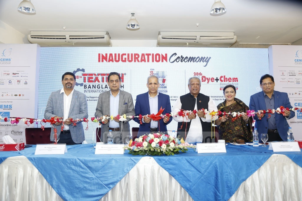 Minister for Industries Amir Hossain Amu opens the TexTech Bangladesh at the International Convention City Bashundhara on Wednesday. Textech is an international exhibition of textile and garment machines, cotton and chemical agents used in textile industry.
