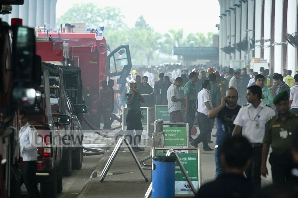 A fire that started on the third storey of Dhaka's Hazrat Shahjalal International Airport is put out after one and half hour by ten firefighting units.