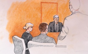 A sketch of Taylor Swift (L) and her attorneys in Denver Federal Court with plaintiff David Mueller (2nd R) during the Swift groping trial in Denver U.S. August 8, 2017. Reuters