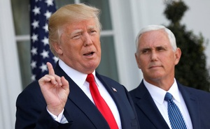 US President Donald Trump speaks to reporters with Vice President Mike Pence at his side at Trump's golf estate in Bedminster, New Jersey US August 10, 2017. Reuters