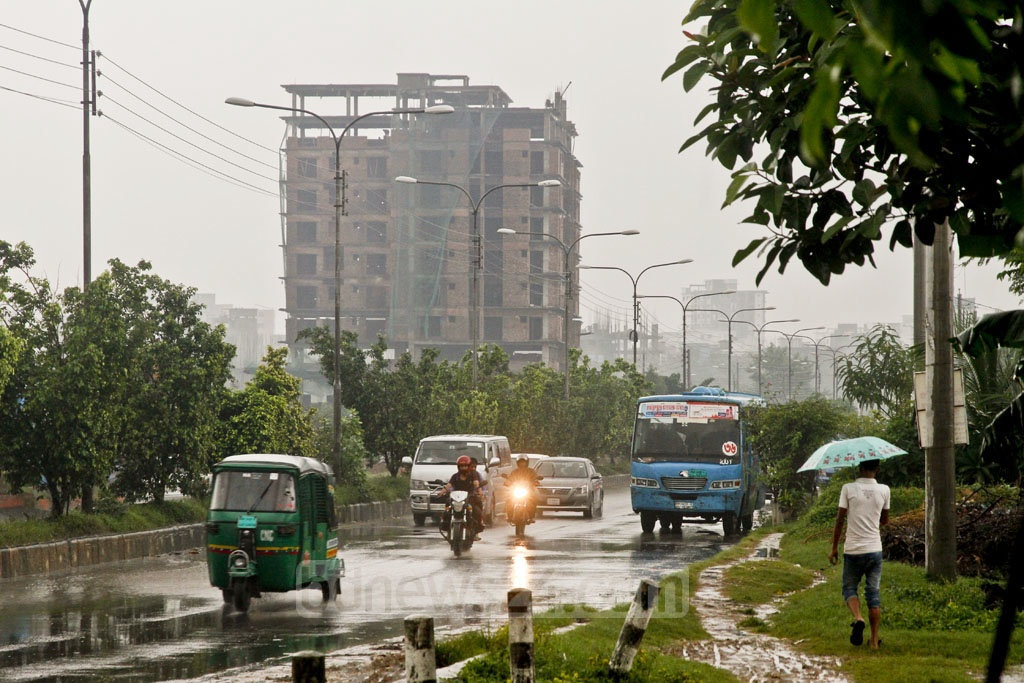 Some drivers put the headlights on when the visibility level drops during the day due to cloudy sky and incessant rain in Dhaka throughout the day on Saturday.
