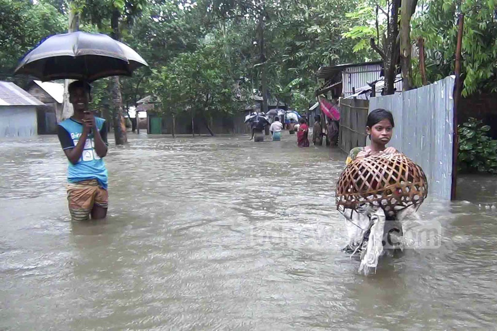 Many areas of Panchagar district have been submerged due to heavy rains. The photo is taken on Saturday.