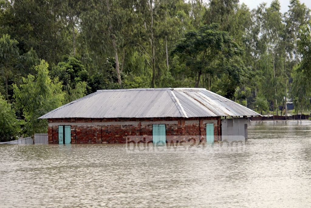 Floodwater covers swathes of land at Thakurgaon on Sunday. Photo shows municipality ward number 3.