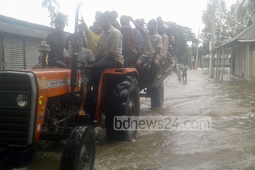 The Lalmonirhat-Fulbari road looked more like a river stream on Sunday.
