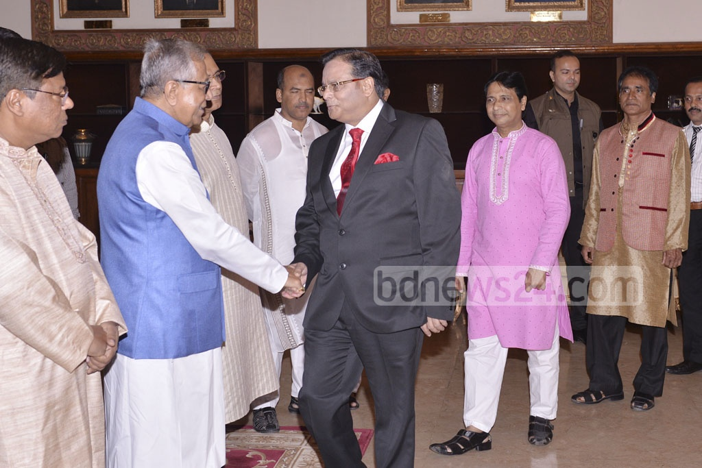 President Md Abdul Hamid receives guests at a Janmashtami reception at the Bangabhaban on Monday.