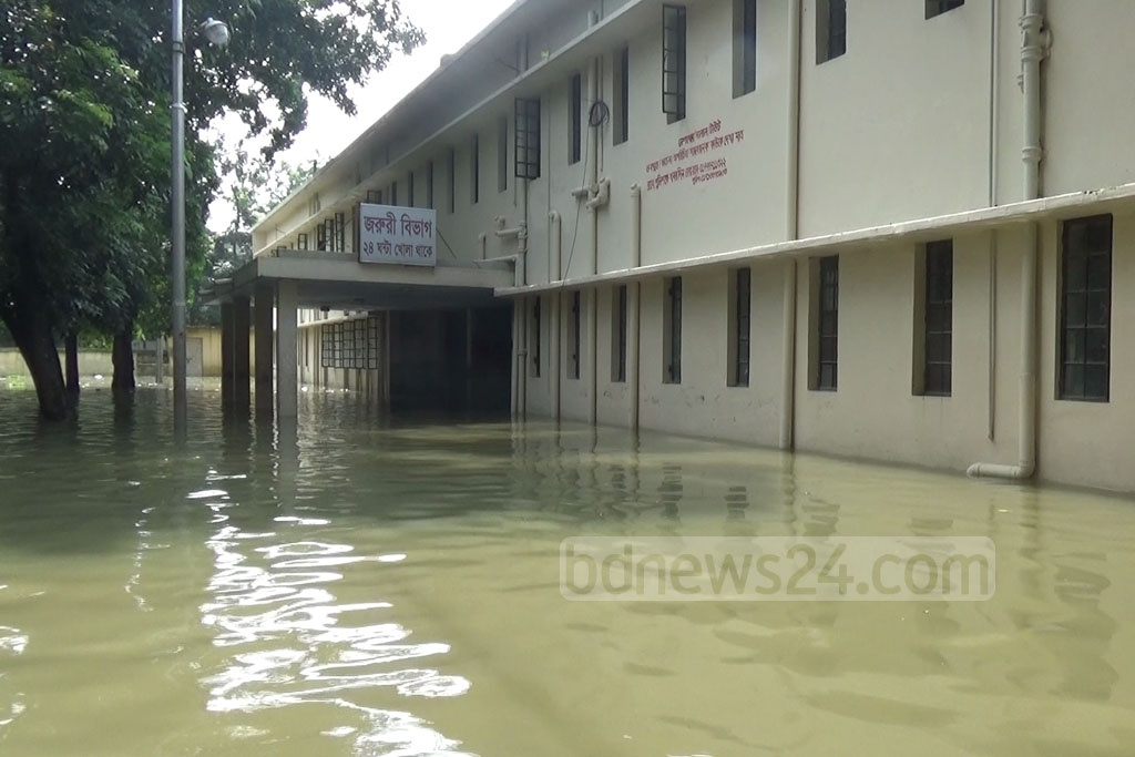 A hospital in Nilphamari's Syedpur is partially submerged.