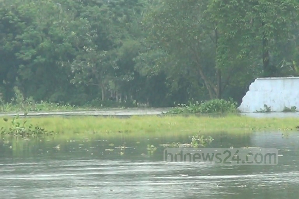 A portion of the Syedpur Airport's boundary wall has collapsed as flood water approaching to the compound.