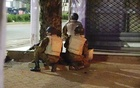 Soldiers surround a restaurant following an attack by gunmen on the restaurant in Ouagadougou, Burkina Faso, in this still frame taken from video Aug 13, 2017. Reuters