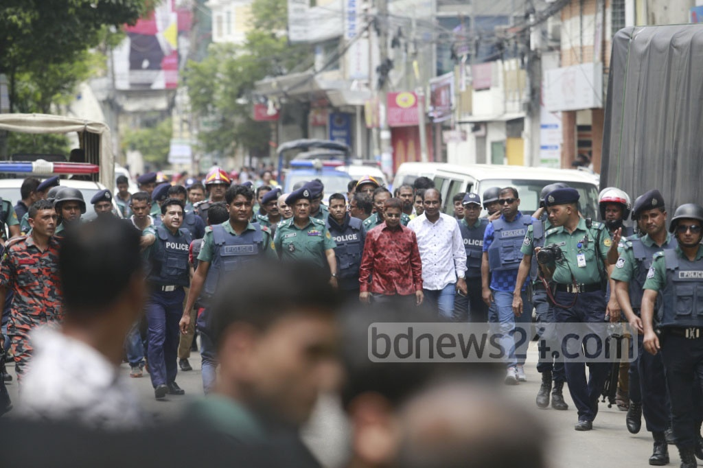 Inspector General of Police AKM Shahidul Hoque visited the scene after the raid ended. He told the media that the suspect was planning an attack on people gathered at the Bangabandhu Memorial Museum for the Aug 15 National Mourning Day event. Photo: tanvir ahammed