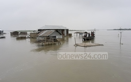 Flood situation in Kurhigram has worsened as the water of the Brahmaputra and Dharala have crossed the danger level. The photo was taken on Wednesday.
