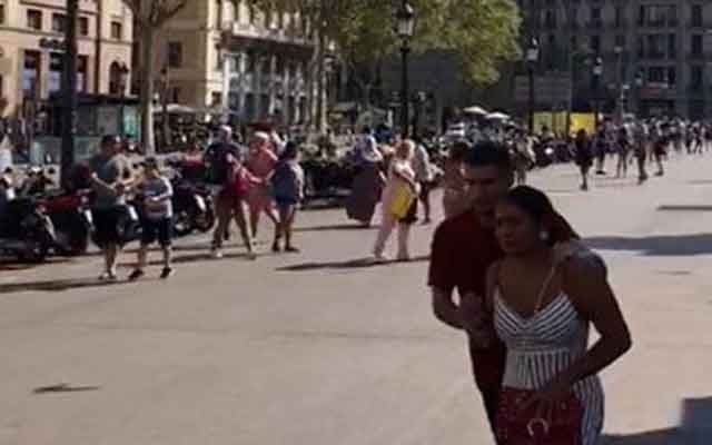 People run away after a van crashed into pedestrians near the Las Ramblas avenue in central Barcelona, Spain August 17, 2017, in this still image from a video obtained from social media. Courtesy of INSTAGRAM / @pavel_lisovtsov/via REUTERS