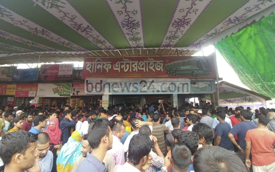 People seeking advance bus tickets ahead of Eid-ul-Azha crowd Gabtoli Bus Terminal on Friday. Photo: abdul mannan