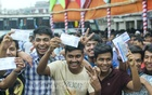 Some of those who could secure advance tickets celebrate at Gabtoli Bus Terminal on Friday. Photo: abdul mannan