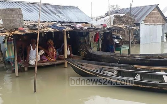 ​Low-lying areas in Madaripur is also flooded. The picture is taken on Friday. ​