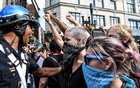 Counter protesters clash with Boston Police outside of the Boston Commons and the Boston Free Speech Rally in Boston, Massachusetts, US, August 19, 2017. Reuters