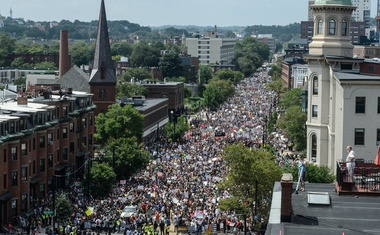 A large crowd of people march towards the Boston Commons to protest the Boston Free Speech Rally in Boston, MA, US, August 19, 2017. Reuters