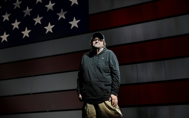Michael Moore poses for a portrait at the site of his one-man Broadway show at the Belasco Theatre in Manhattan, New York, US, August 17, 2017. Reuters