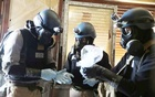 File Photo: A United Nations chemical weapons expert, wearing a gas mask, holds a plastic bag containing samples from one of the sites of an alleged chemical weapons attack in the Ain Tarma neighbourhood of Damascus, Syria Aug 29, 2013. Reuters