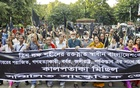 Sammilito Sanskritik Jote takes out a black-flag procession at Dhaka University to protest a recent comment by Chief Justice SK Sinha, where he used the example of Pakistan's Supreme Court in his ongoing debate with the government over the repeal of a constitutional amendment. Photo: tanvir ahammed