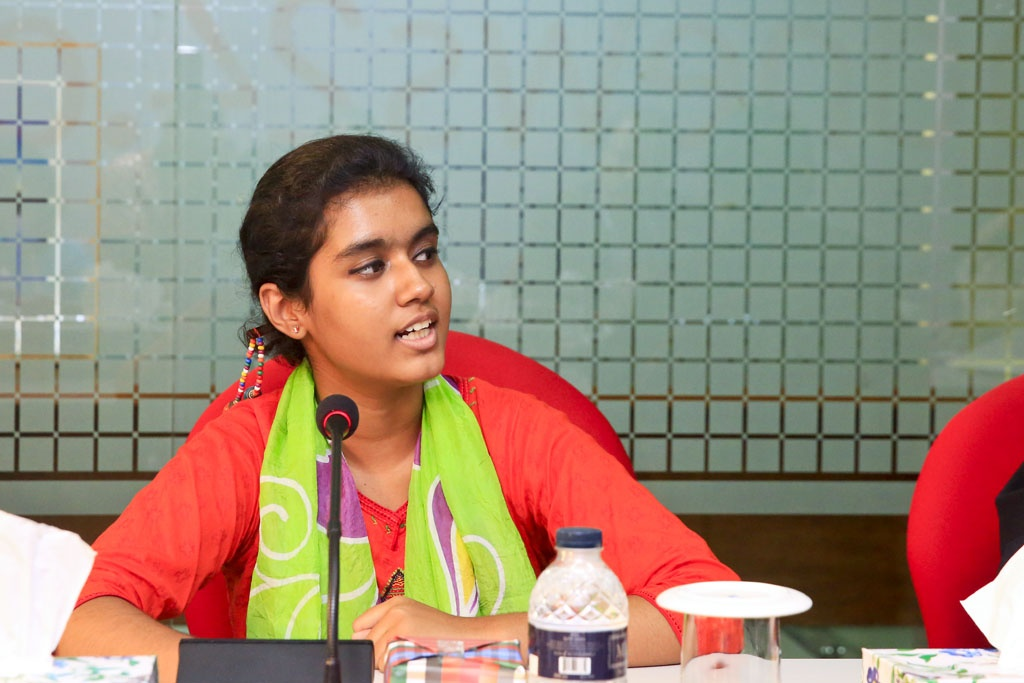 Hello child journalist Pritha Pronodona joins a discussion on 'Children in Media' organised by bdnews24.com on Thursday.