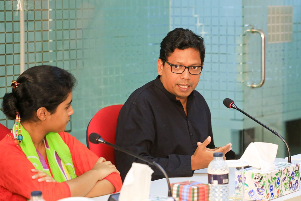 State Minister for ICT Zunaid Ahmed Palak takes part in a discussion on 'Children in Media' at the bdnews24.com office on Thursday.