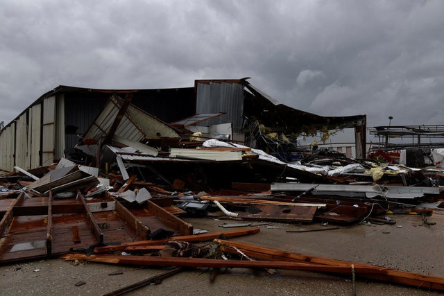 A storage facility that took damage from a tornado that spun off of Hurricane Harvey after the storm made landfall on the Texas Gulf coast, in Katy, Texas, US August 26, 2017. reuters