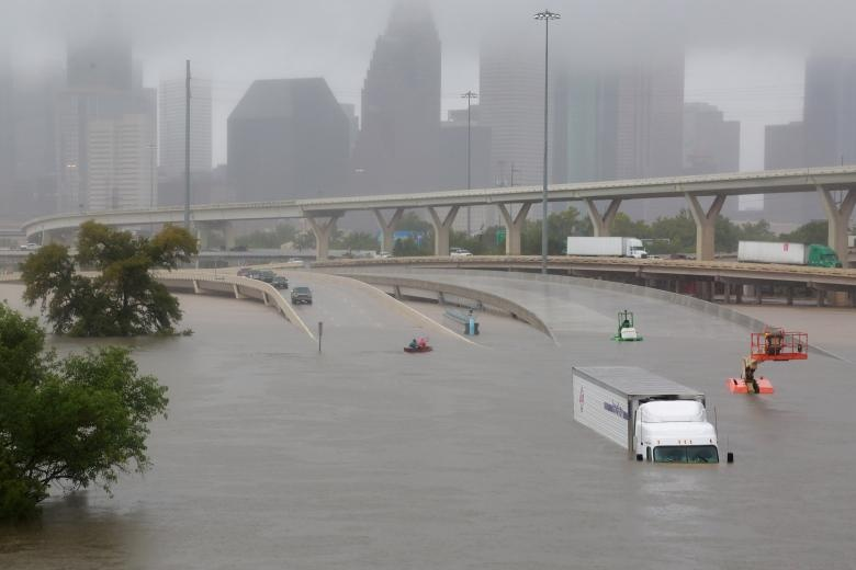 Interstate highway 45 is submerged during widespread flooding in Houston. Reuters