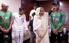 Prime Minister Sheikh Hasina teases top allrounder Shakib Al Hasan during her meeting to congratulate the Bangladesh cricket team after their maisen Test victory over Australia at Dhaka's Sher-e-Bangla National Cricket Stadium on Wednesday. Photo: BCB