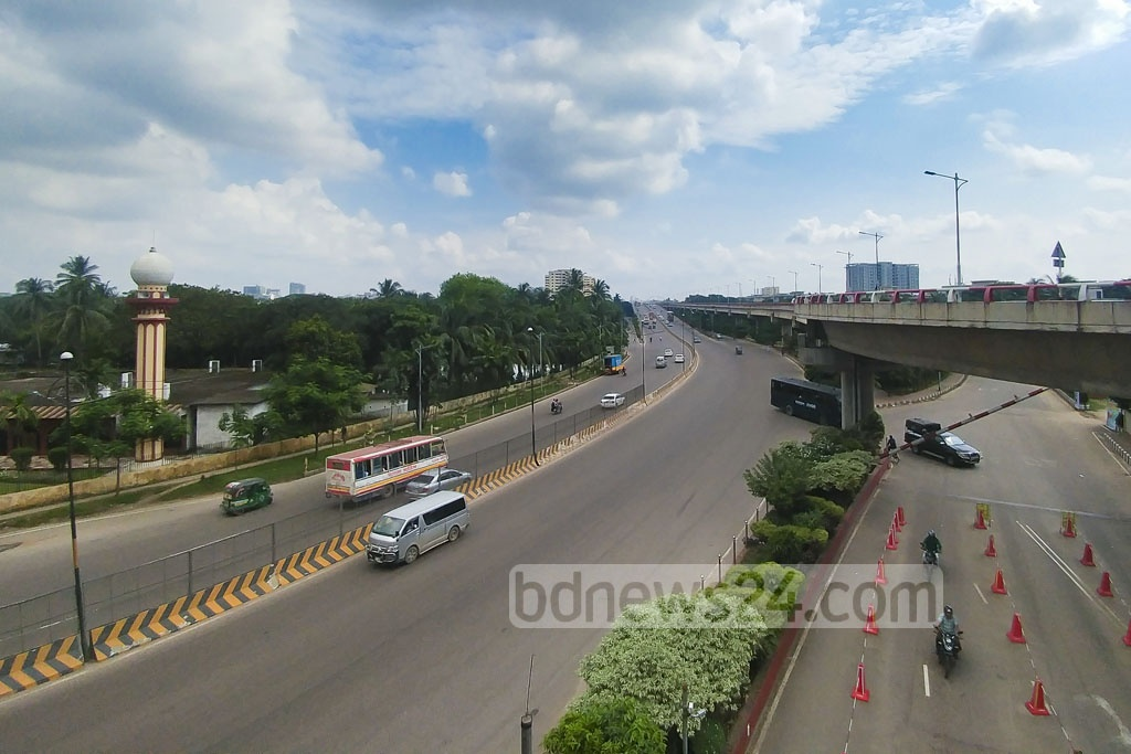 This photo shows almost deserted streets on Mirpur Flyover on Friday, a day before Eid-ul-Azha. Photo: abdul mannan