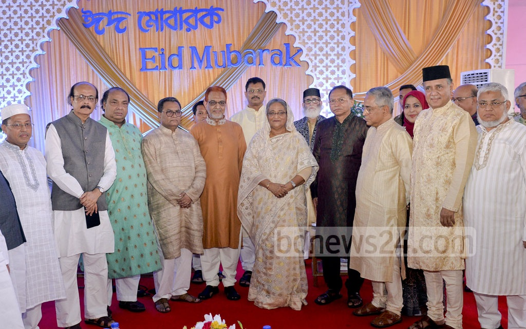 Prime Minister Sheikh Hasina exchanged greetings with people from all walks of life at the Ganabhaban on Eid-ul-Azha on Saturday.