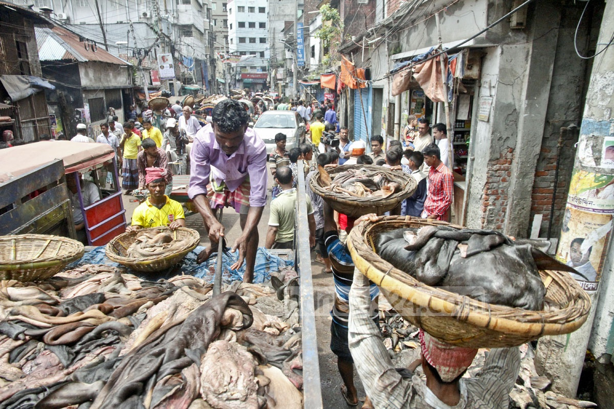 Seasonal traders sell rawhides of cattle slaughtered on Eid-ul-Azha at Posta in Old Dhaka a day after the Eid on Sunday. Photo: tanvir ahammed