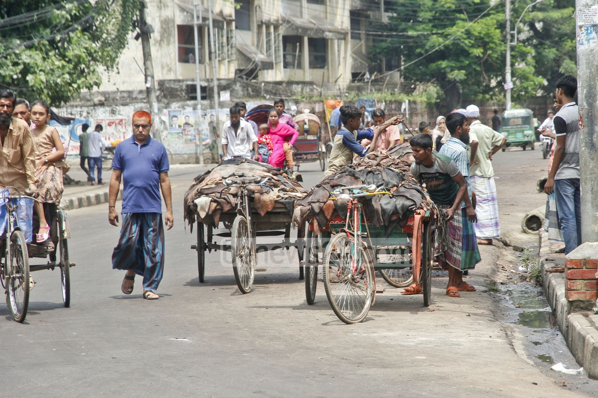 Trading of rawhide under way at Azimpur-Lalbagh area a day after the Eid on Sunday. Photo: tanvir ahammed