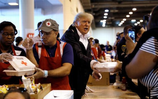 President Trump, First Lady Meet With Hurricane Harvey Victims At NRG Stadium