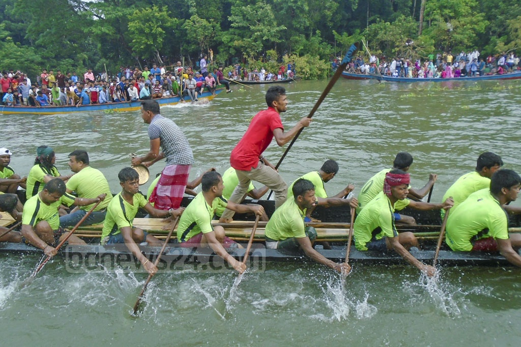 The Bangabandhu Memorial Rowing Competition was held on Tuesday on the Kumar River in Gopalganj.