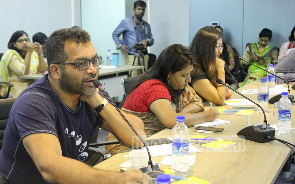 Actor Iresh Zaker speaks at a discussion titled 'Redefining masculinity' at the BRAC Centre in the capital on Saturday.