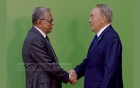 Kazakh President Nursultan Nazarbayev greets President Md Abdul Hamid at the First OIC Summit on Science and Technology at the 'Palace of Independence' in Kazakhstan's Astana on Sunday. Photo: PID