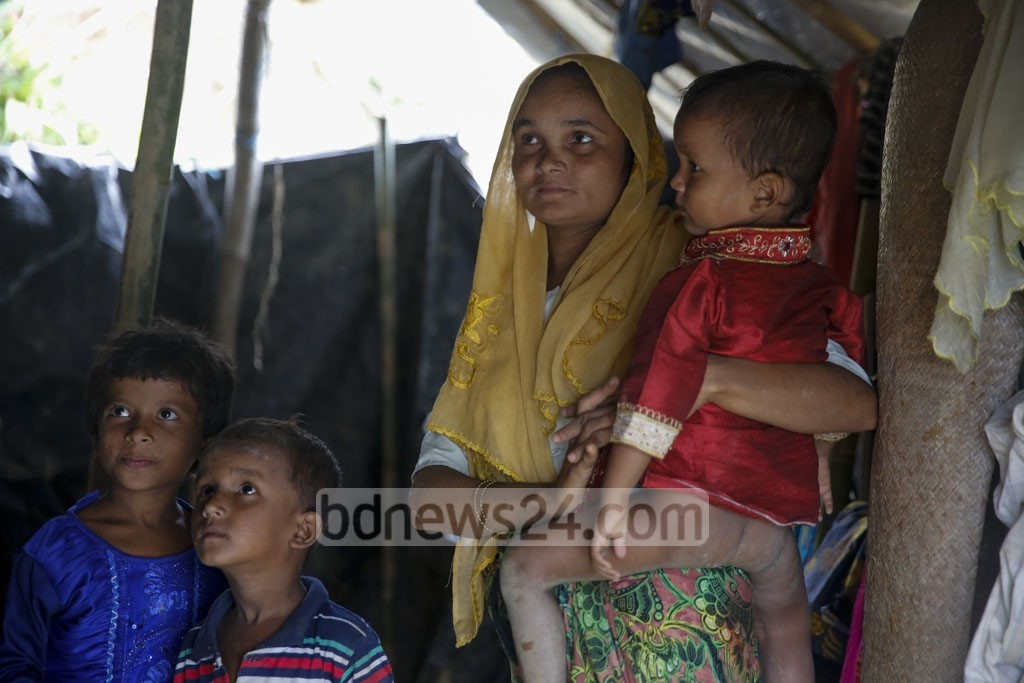 Mariam Begum, a mother of three, has taken refuge at the makeshift camp on Balukhali Hill in Cox's Bazar's Ukhia. She says her husband was killed in front of her by Myanmar soldiers. Photo: mostafigur rahman