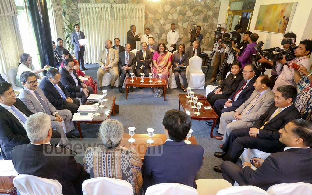 Foreign Minister AH Mahmood Ali briefs diplomats of ASEAN and South Asian countries about the current state of the Rohingya crisis and Bangladesh's stance on the issue at state guesthouse Padma on Monday. Photo: asaduzzaman pramanik