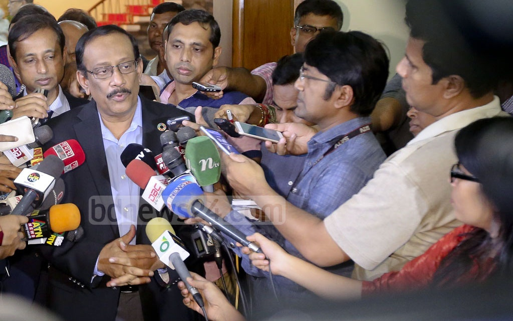 Foreign Secretary Shahidul Haque briefs the media after a meeting with Dhaka-based diplomats of South and Southeast Asian countries on the current Rohingya crisis at state guesthouse Padma on Monday. Photo: asaduzzaman pramanik