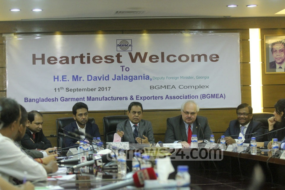 Leaders of Bangladesh Garment Manufacturers and Exporters Association meet a Georgian delegation in Dhaka on Monday. Photo: abdul mannan