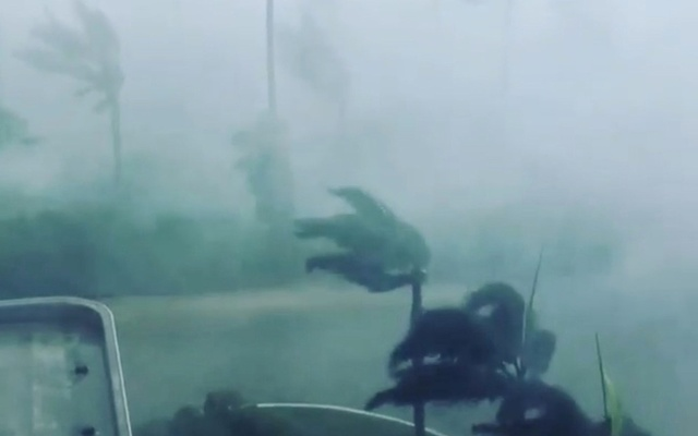 Trees sway in strong winds during a storm as Hurricane Irma hits Marco Island, Florida, US, in this Sept 10, 2017 still image taken from social media video. Charles Connelly via Reuters