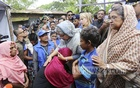 A Rohingya woman embraces Prime Minister Sheikh Hasina and breaks down in tears at the Kutupalong refugee camp in Cox's Bazar's Ukhia on Tuesday. Photo: habibur rahman